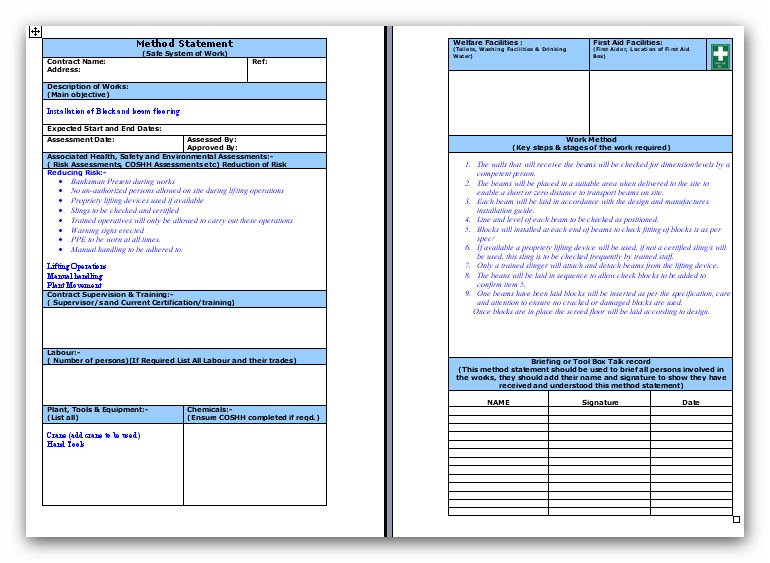 Awesome Method Statement Template.info Regard To Method Of Statement