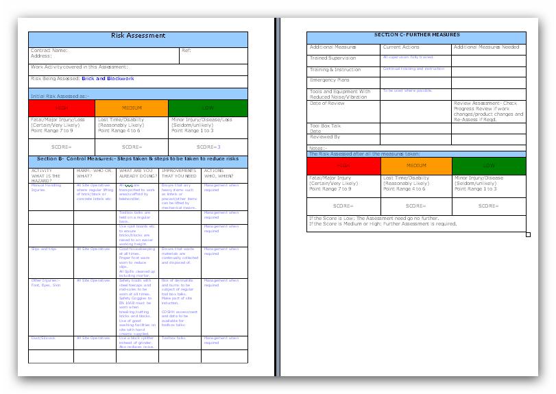 Brick and Blockwork Risk Assessment – Product Risk Assessment