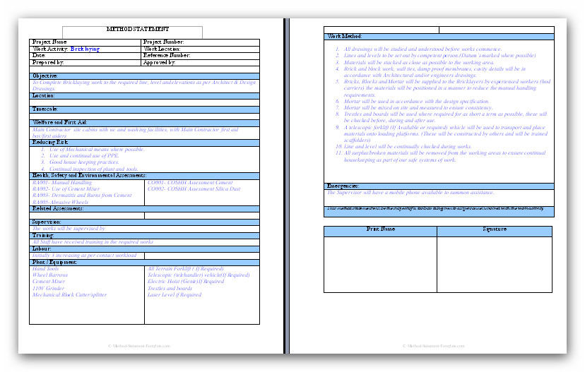 General brick and block work method statement for Scaffolding risk assessment template
