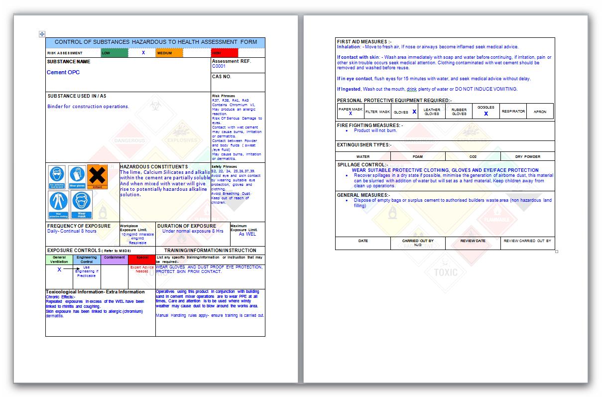 Coshh Risk Assessment Form