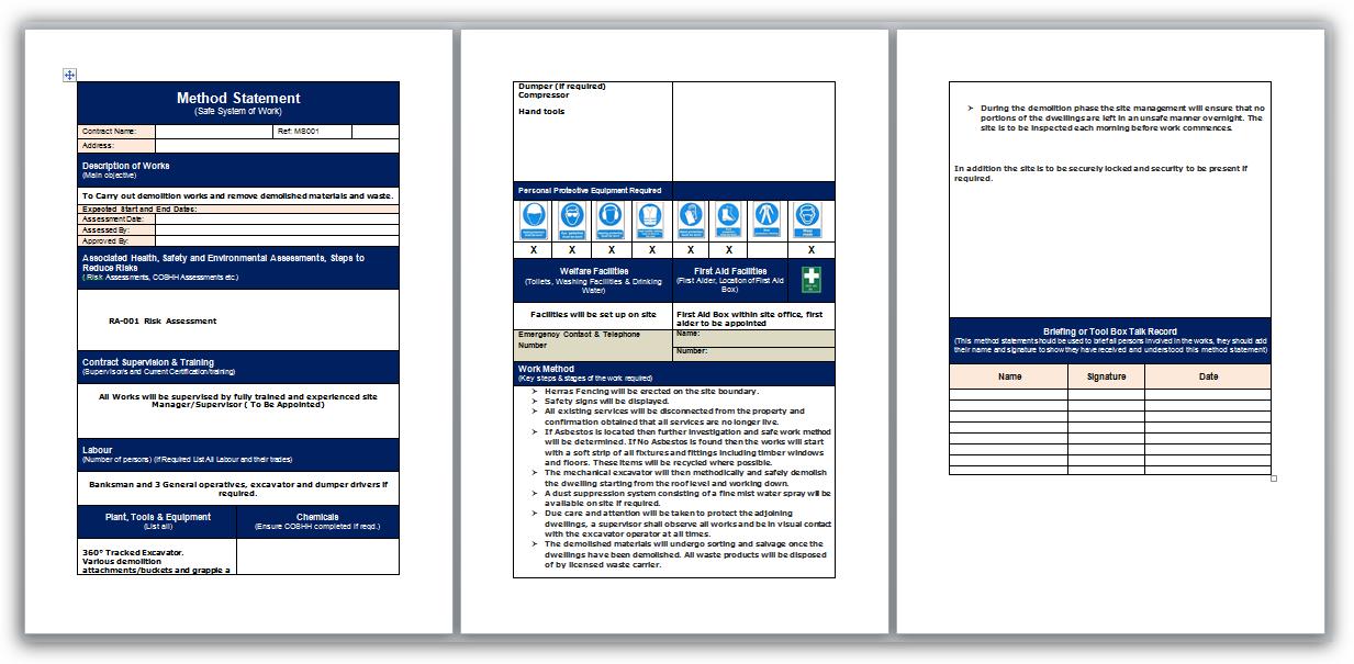Demolition Method Statement And Risk Assessment