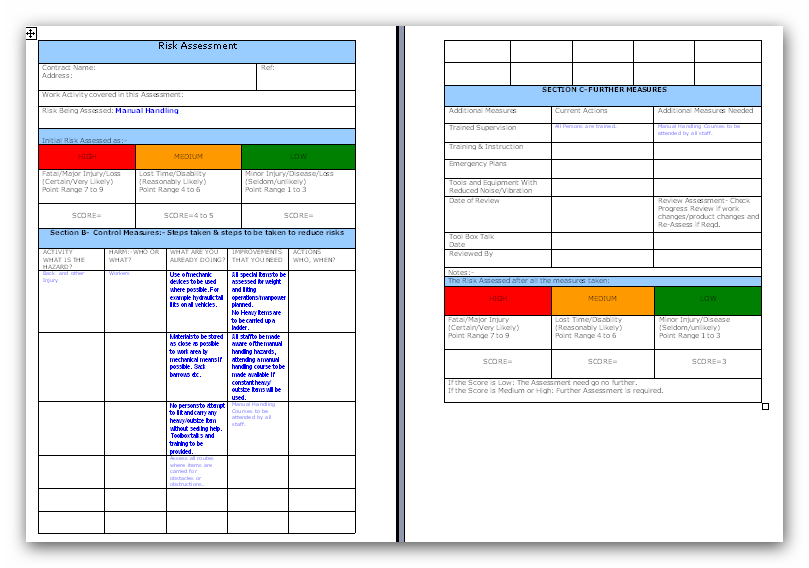 Example Method Statements U0026 Risk Assessments, Health U0026 Safety ...  Method Statements Template