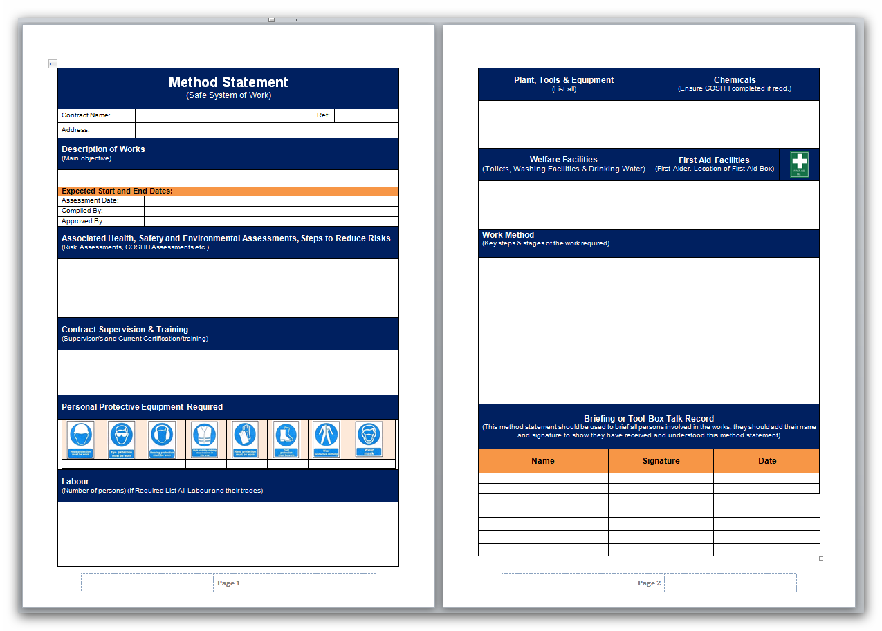 2014 Version Of Our Method Statement Template  Assessment Forms Templates
